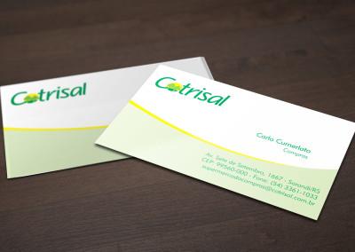 - Cartões de Visita impressos para Cotrisal: em papel couché brilho 300g, com impressão 4x0 cores, tamanho 9x5cm.