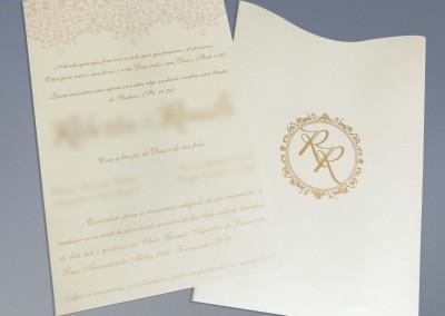 - Convites de casamento: Envelope com corte especial em papel Color Plus Aspen 250g, com impressão 1x0 cor, Convite em papel Color Plus Aspen 250g, com impressão 2x0 cores.