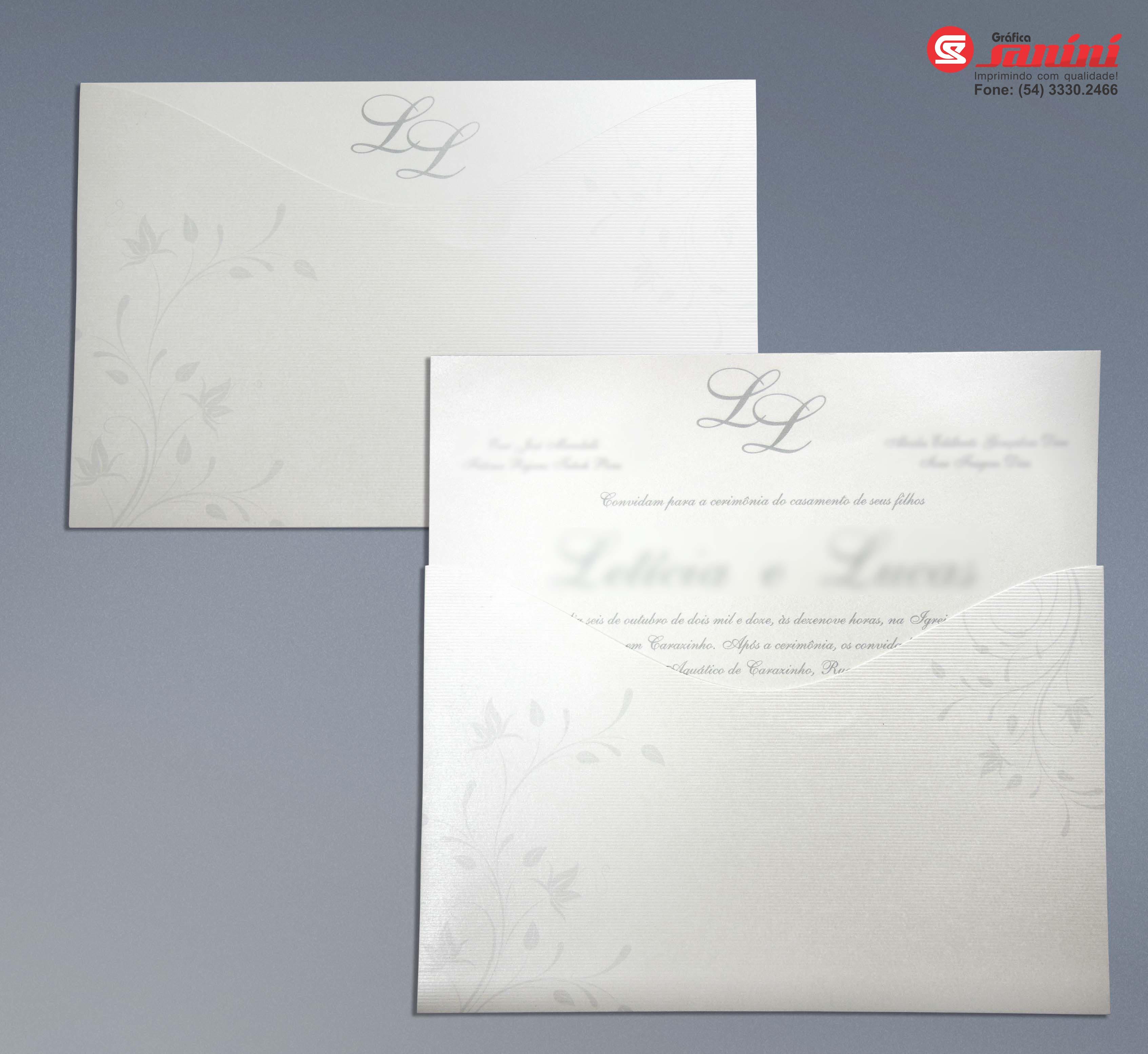 12f85f51bff Convites de casamento  Envelope com corte especial em papel Color Plus  Aspen Linear 250g