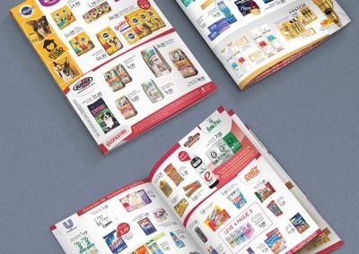 - Encartes promocionais impressos para Supermercado Economia, Capa em papel couchê brilho 115g, Miolo em papel couchê brilho 90g, impressão 4x4 cores, tamanho aberto 46x32 cm, tamanho fechado 23x32cm, com 12 páginas, dobrado, intercalado e grampeado.