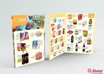 - Encartes promocionais impressos para Cotrisal em papel couché brilho 115g, impressão 4x4 cores, tamanho 42x30cm aberto, tamanho fechado 21x30cm com 4 páginas.