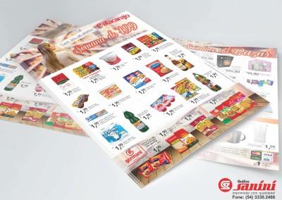 - Encartes promocionais impressos para E-atacarejo em papel couchê brilho 90g, impressão 4x4 cores, tamanho 23.4x31.7 cm.